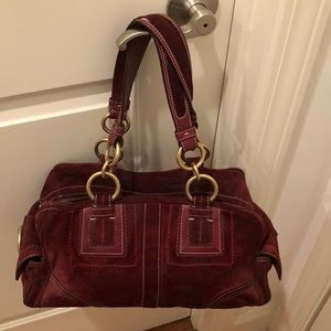 Coach red suede purse